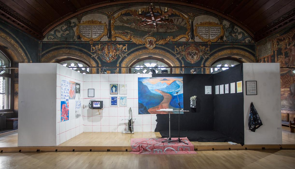 Installation im historischen Rathaussaal Wasserburg & Liveauftritt zur großen Wasserburger Kunstauststellung 2016