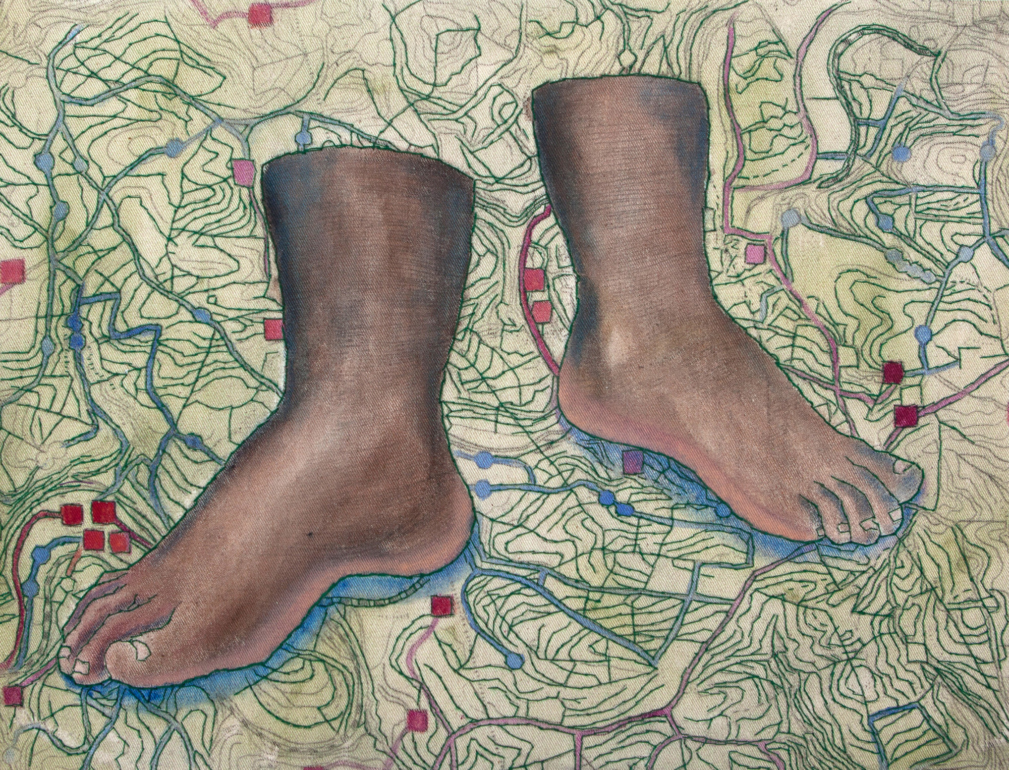 """""""Travelers, there is no Path, Paths are made by Walking"""", 30 x 40 cm, 2016-2017, embroidery and painting on canvas"""