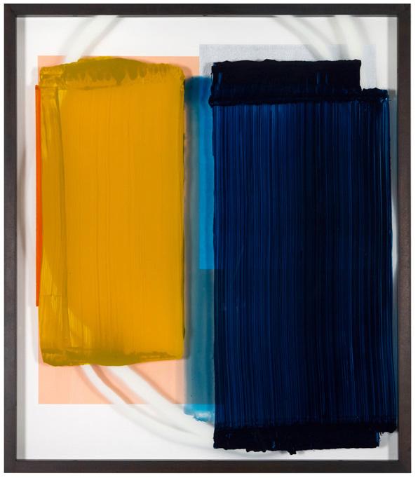 Dawn, 80 x 70 cm, acrylic behind glass, acrylic and chrome varnish on wood, 2018