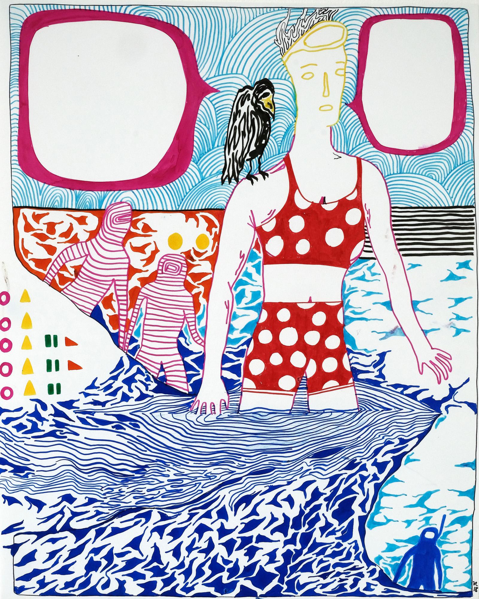 O.T., 60 x 76 cm, 2018, Mischtechnik auf Papier