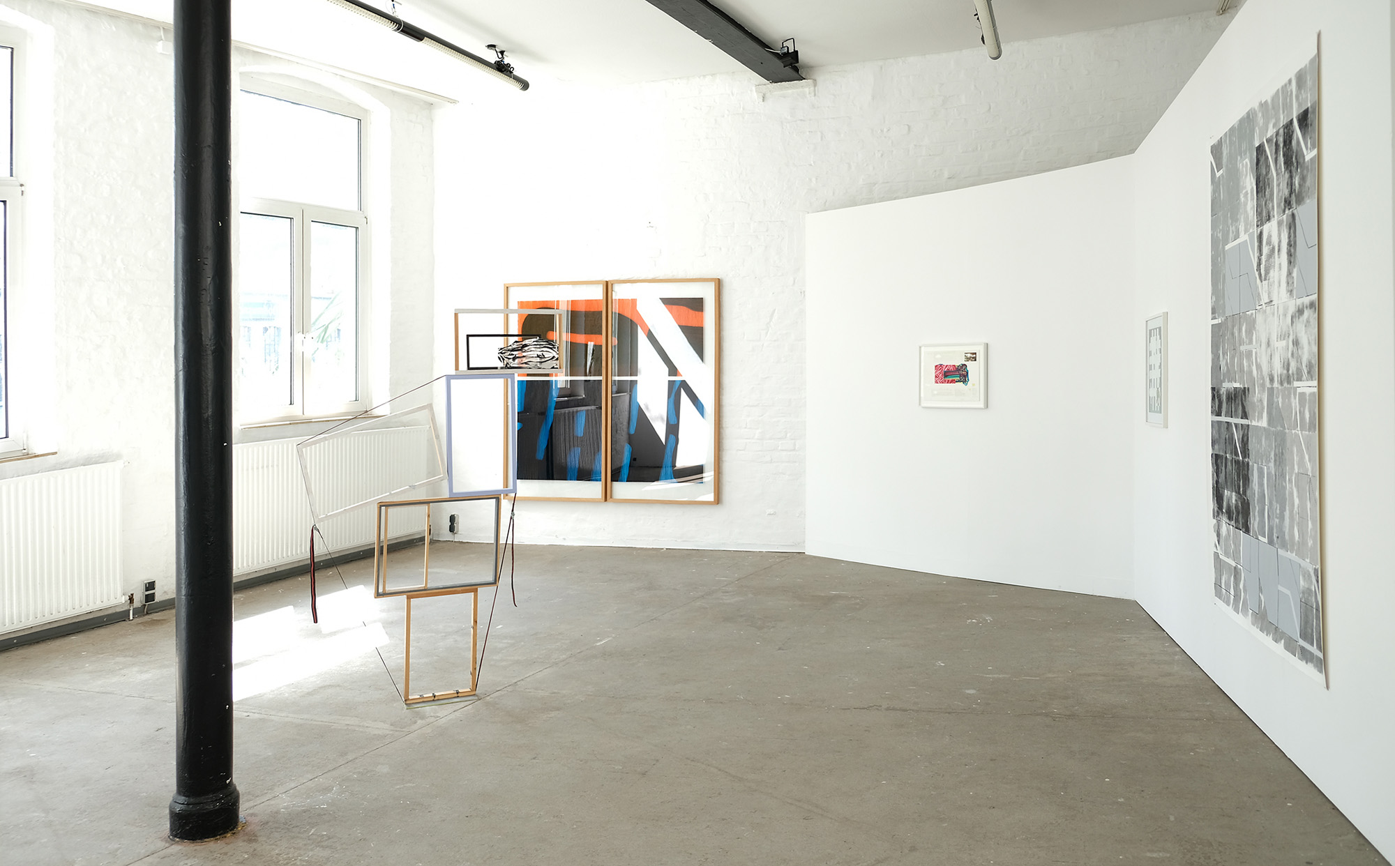 Jost Münster, woodframes, glass, tension belt