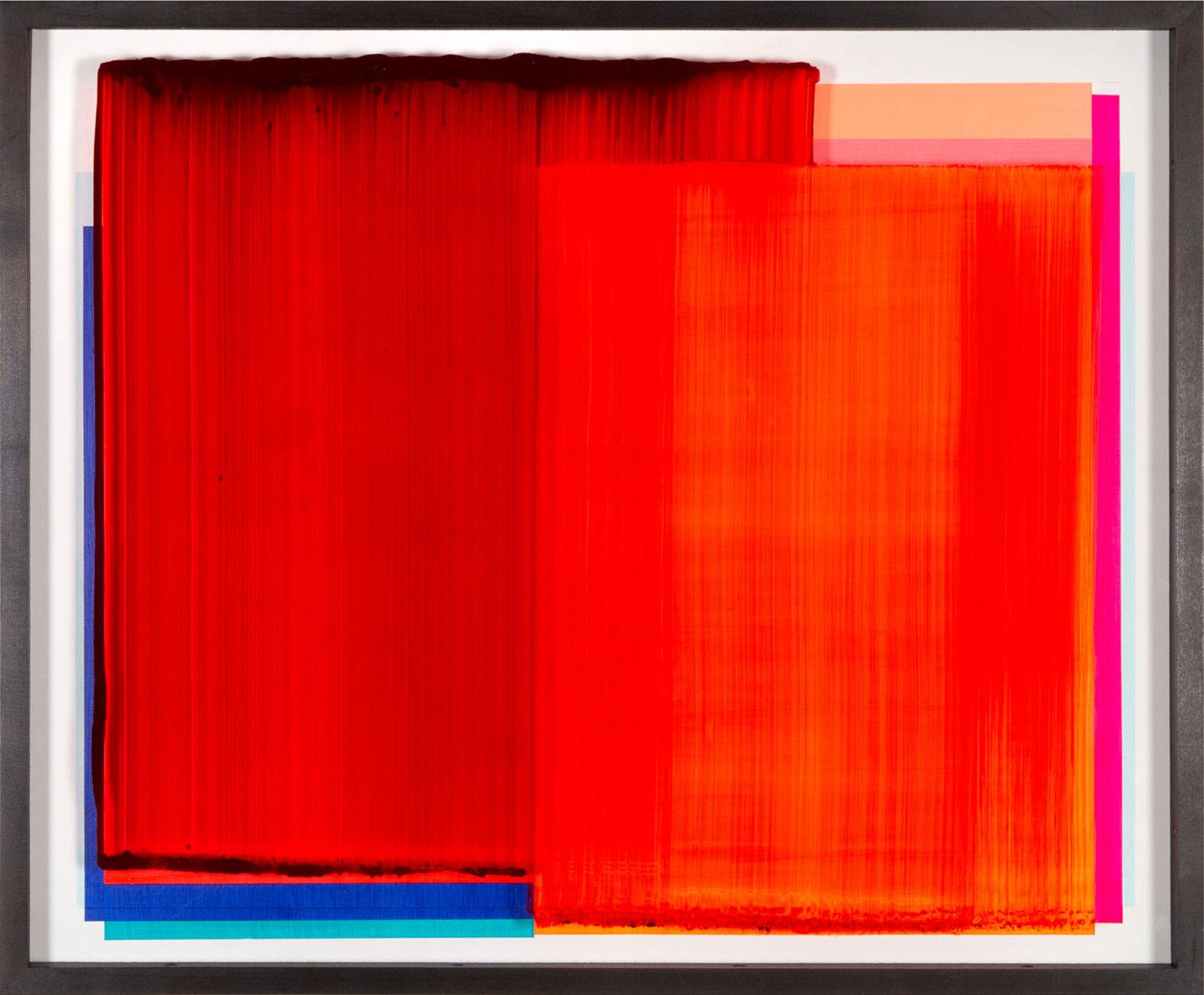 """Work Piece"" 2020; 70 x 85 cm acrylic behind glass, acrylic and chrome varnish on wood"
