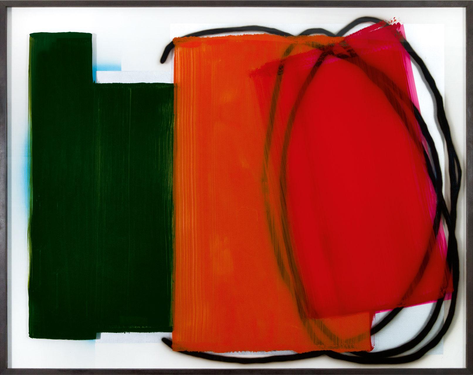 """Flags"" 2018; 122 x 152 cm, Acrylic behind glass acrylic and varnish on wood"